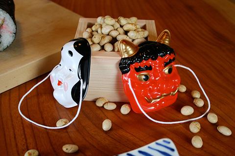 Setsubun Mame Beans, Otafuku and Oni Masks.